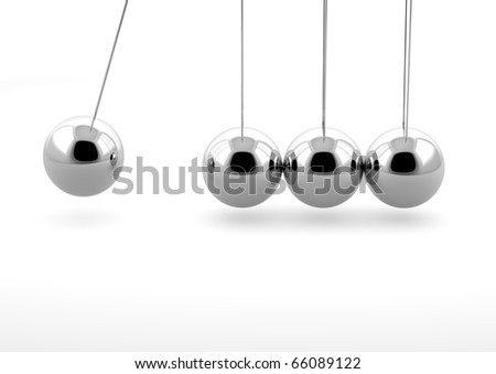 3d newton pendulum isolated on white background - stock photo