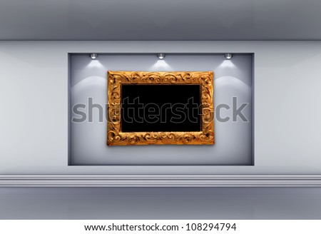 3d  niche with spotlights and empty picture frame for exhibit in the grey interior. - stock photo