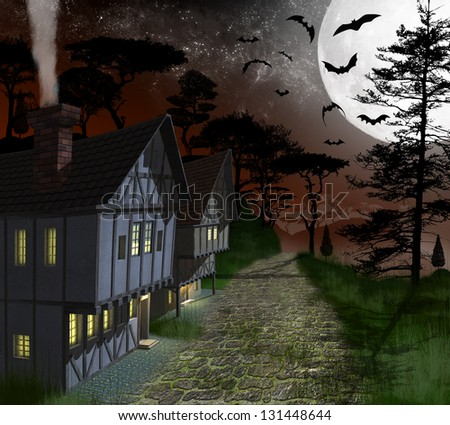3d, night, house timber, under the moonlight, with the bats in the forest - stock photo