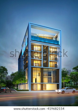 3D night perspective image of building. Image of architectural construction schematic design idea. - stock photo