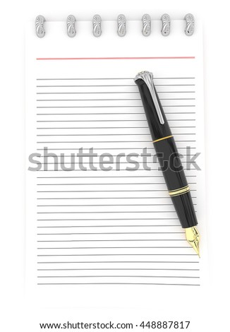 3d notepad and a pen concept in white isolated background