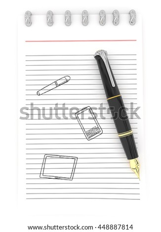 3d notepad and pen with mobile phone , tablet and pen drawing on paper concept in white isolated background
