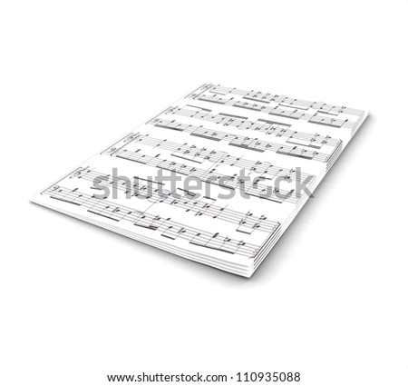 3D notes on a white background