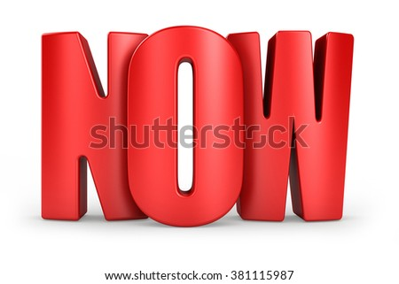3D Now red text on white background 3d rendering
