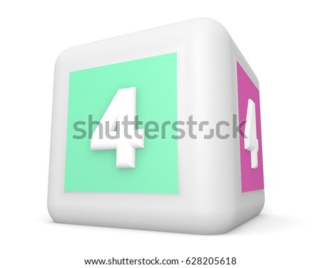 3D number digit 4 the alphabet is depicted on a cube of white plastic isolated on white background 3D rendering