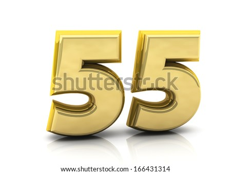 3d number fifty five in gold