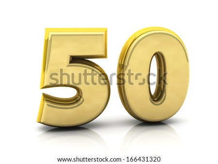 3d number fifty in gold