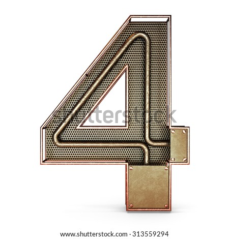 3d number four 4 symbol with rustic gold metal, mesh, tubes with copper and brass accents.Isolated on a white background. - stock photo