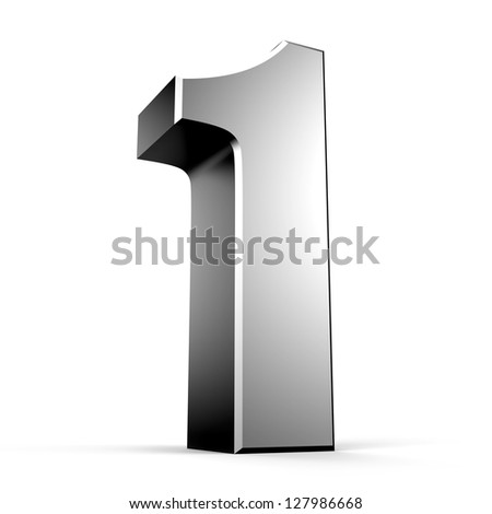 3D number 1 from my metal number collection - stock photo