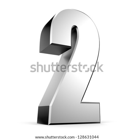 3D number 2 from my metal number collection - stock photo