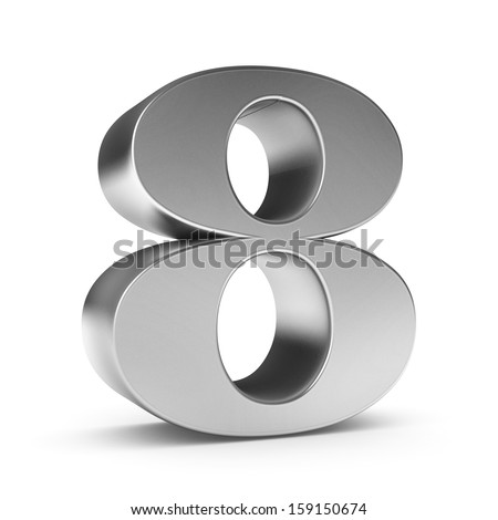 3d number 8 - from my metal number collection - stock photo