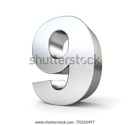 3d number 9 - from my metal number collection - stock photo