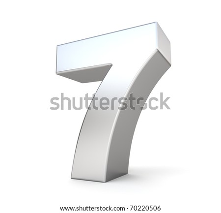3d number 7 - from my metal number collection - stock photo