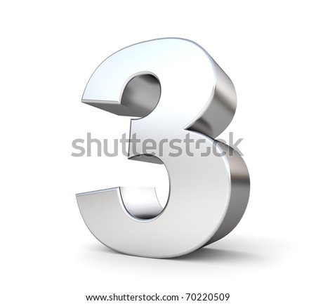 3d number 3 - from my metal number collection - stock photo