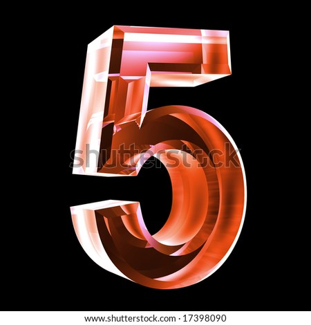 3d number 5 in red glass - stock photo