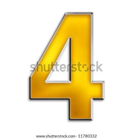 3d number 4 in shiny yellow gold isolated on white series - stock photo