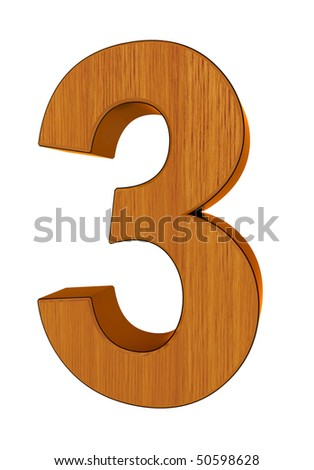 3d number 3 made of wood and cooper - stock photo