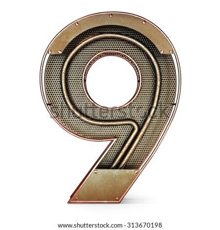 3d number nine 9 symbol with rustic gold metal, mesh, tubes with copper and brass accents.Isolated on a white background. - stock photo