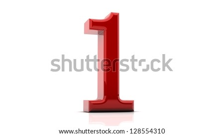 3d Number one  in red on white background - stock photo