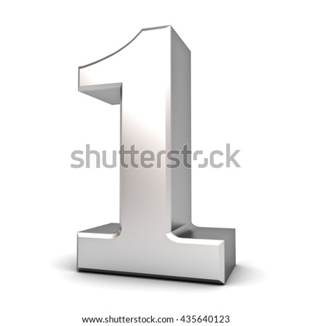 3D number one isolated over white background with shadow. 3D rendering.