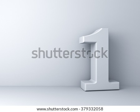 3D number one over white background