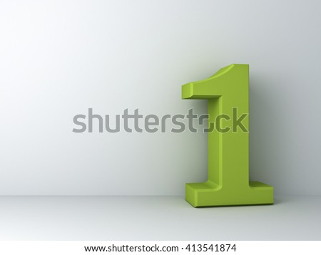 3D number one over white background. 3D rendering.