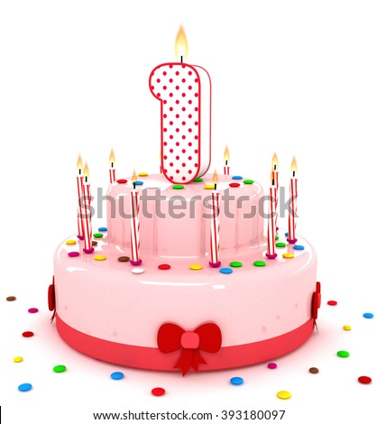 3d number 1 one render colorful birthday cake decorate with candle and sweet