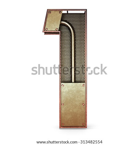 3d number one 1 symbol with rustic gold metal, mesh, tubes with copper and brass accents.Isolated on a white background. - stock photo