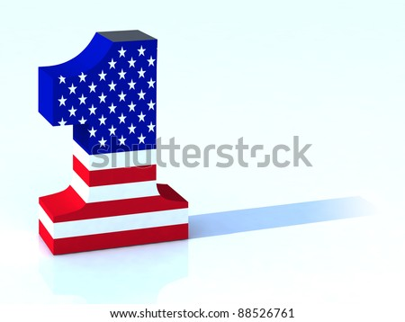 3d number one with american flag - stock photo