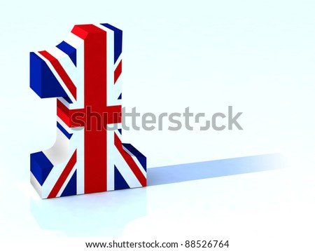 3d number one with english flag - stock photo