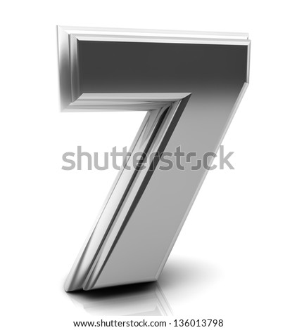 3d Number seven in silver on white background - stock photo