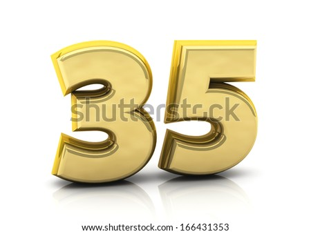 3d number thirty five in gold