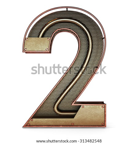 3d number two 2 symbol with rustic gold metal, mesh, tubes with copper and brass accents.Isolated on a white background. - stock photo