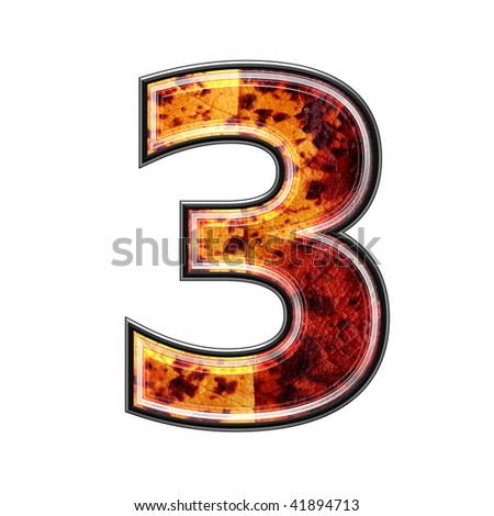 3d number with autumn leaf texture
