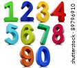 3d numbers set isolated on white background. - stock photo