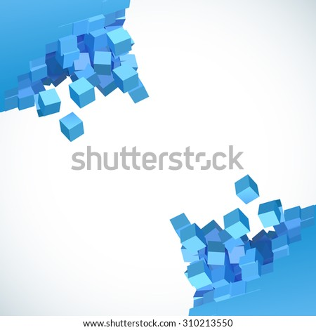 3D object explosion background with cubic particles in the corners - stock photo