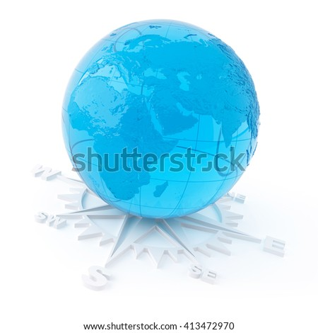 3D object from the glass on a white, globe - stock photo