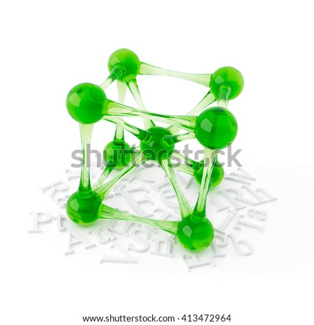 3D object from the glass on a white, molecular lattice - stock photo
