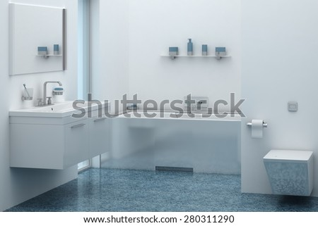 3d of bathroom interior with sink and tub - stock photo
