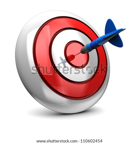 3d of dart in bullseye on dartboard isolated on white background
