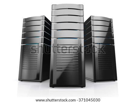 3d of network workstation servers isolated on white background. - stock photo
