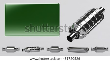 3D of reflecting catalytic converters collection and green plate - stock photo