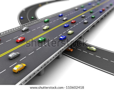 3d of road way with several cars driving - stock photo
