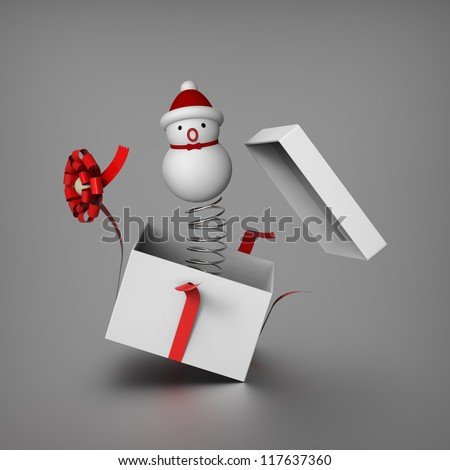 3D of snowman mimics Jack in the box by springing out from a gift box to surprises everybody - stock photo