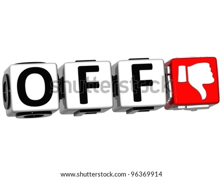 3D Off Hand Button cube text over white background - stock photo