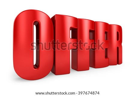 3D offer word on white isolated background - stock photo