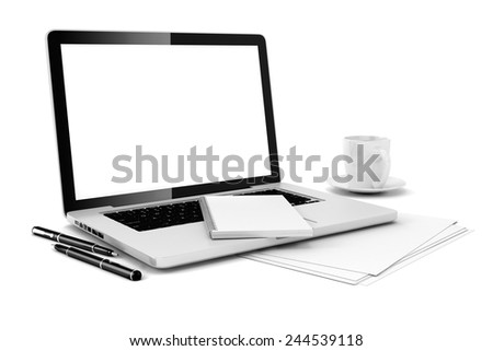 3d office desk with computer and documents - stock photo