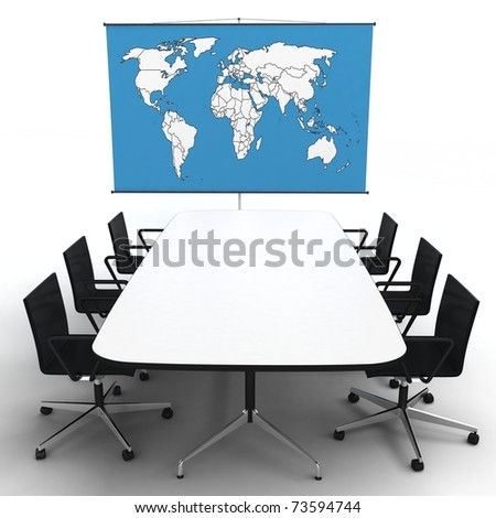 3d office with world map on a stand isolated on white - stock photo