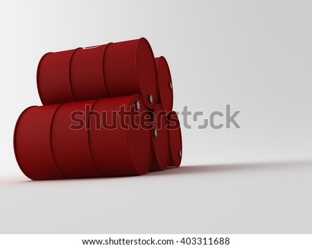3d oil barrels stacked up and ready for shippment - stock photo