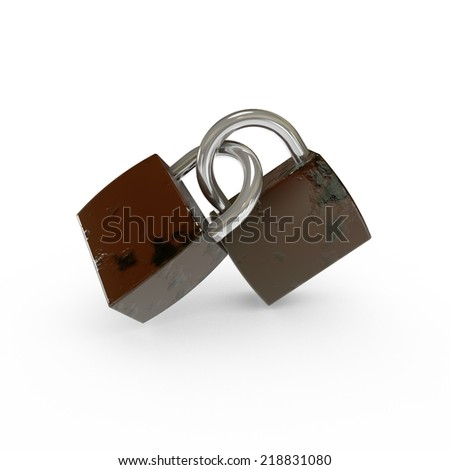 3D Old Padlocks Isolated